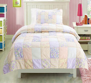 Crayon Patchwork 100%Cotton Twin-Size Quilt Set, Bedspread, Coverlet