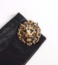 SAINT LAURENT Paris Old Gold-Toned 100% Brass LION HEAD Brooch Pin