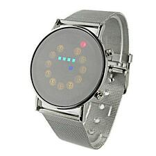 Red+Yellow+Green+Blue LED Light Stainless Steel Fashion Sport Wrist Watch Ornate