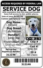 Customized Service Dog Card ID Assistance Animal Badge ADA ESA with Barcode