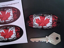 CANADA Maple Leaf Flag Fade to Black Oval Car Motorcycle Stickers 75mm Canadian