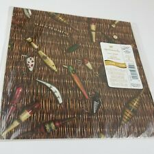 Vgt Caveman Fishing Sport Hook Lure Hallmark Paper Gift Wrap 2 Sheet Usa Made