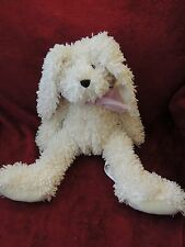 "Pier One Off White Curly Fur Easter Bunny Rabbit Plush Pink Ribbon 17"" w/o ears"