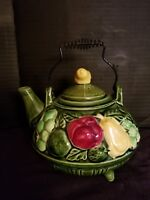 Vintage Country Themed Teapot Made In Nagoya Japan National Silver Company