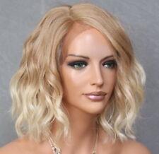 Short Lace Front Wig Wavy Bob Blonde mix Heat OK Hair Piece Full WBPG 27/613
