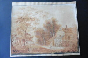 FRENCH SCHOOL CA. 1810 - LARGE SIZE ANIMATED LANDSCAPE - STUNNING WATERCOLORg