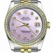Rolex Oyster Perpetual Datejust Pink Mother Of Pearl Diamond Face & Diamond Beze