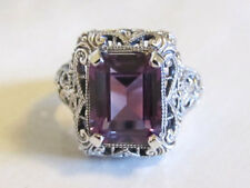 Alexandrite Filigree Ring Sterling Silver Antique Vintage Art Deco Style Size 6