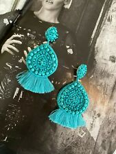 Latoir Boho Turquoise Blue Green Tassel Fringe Beaded Statement Earrings BNWT