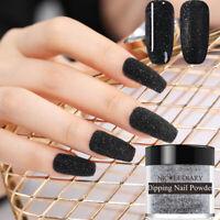 NICOLE DIARY Black Glitter Matte Dipping Powder Acrylic Tips Nail Art DIY ND-D05