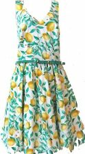 Size 14 - NWOT$60 Elle Lemon Print Criss Cross back Sundress w/Skinny Belt