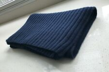 NWOT Cosy  J CREW Collection 100% Cashmere Dark Blue Ribbed Scarf