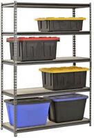 Rack 5-Shelf Steel Shelving Storage Silver 18x48x 72 Garage Wood Metal