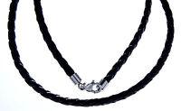 geflochtenes Lederband 3+4 mm mit Verschluss Edelstahl 40 45 55 65 cm Echtleder