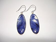 """AB One-of-a-Kind Navy Blue White Natural Sodalite Oval .925 Silver Earrings 2"""""""