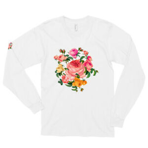 Long sleeve t-shirt Bouquet of rose Garland flowers roses Large rose romantic
