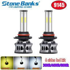 6Sides 9145 9140 LED Headlight Bulbs 3Colors CANBUS Fog Light 6000K 90W 9000LM