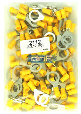 (100 PACK) 12-10 GAUGE YELLOW RING TERMINALS ELECTRICAL WIRE CONNECTORS 1/2""