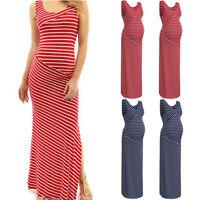 Women Sleeveless Pregnancy Maternity Vest Dress Stripe Summer Long Top Sundress