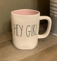 Rae Dunn - HEY GIRL - White Ceramic Coffee Mug - Pink Interior