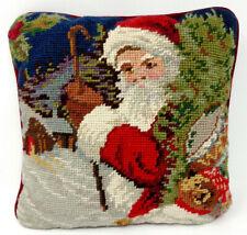 """SANTA CHRISTMAS WOOL NEEDLEPOINT Decor Pillow RED VELVET BACK 9x9"""" Teddy & Drum"""