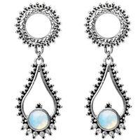 Ear Gauges ear stretching plugs Stainless steel teardrop opal dangle  tunnels