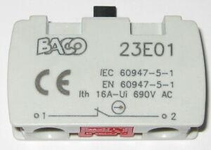 Baco Controls NC Industrial Contact Module Push Switch 10 A - 400 VAC - 23E01