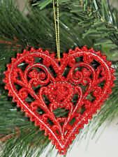 Set Of 6 Glitter Filigree Love Hearts Christmas Tree Baubles Decorations - Red