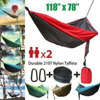 Portable Single & Double Camping Hammock Nylon for Hiking Travel w/ Tree Straps