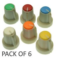 6x Coloured 6mm Spline Shaft Potentiometer amplifier Volume Knob Cap Plastic
