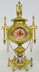 Amazing Antique French 8Day Bronze Ormolu & Sevres Porcelain Gothic Mantle Clock