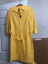 Talbots Dress Bright Yellow Eyelet Dot Button Shirt 3/4 Sl Lined Sheath