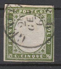 FRANCOBOLLI 1863 SARDEGNA 5 C. VERDE OLIVASTRO GENOVA 24/1 C/2852