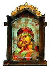 Handmade Wooden Greek Orthodox Icon Painting Canvas Virgin Mary Jesus Christ M56