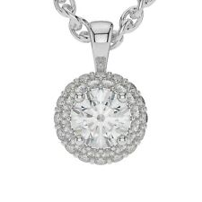 "1.00 ct  G VVS2 Round Halo 14K White Gold Solitaire Pendant Necklace + 16"" Chain"