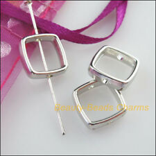 25 New Charms Acrylic Square Spacer Beads Frame Dull Silver Plated 13mm