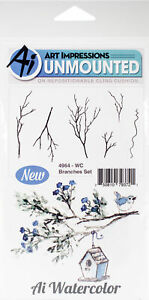 Art Impressions Watercolor Cling Rubber Stamps -Branches