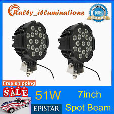 2pcs 51w SPOT LED Work Light Black Round Off-road fog Driving 4WD Boat UTE RALLY