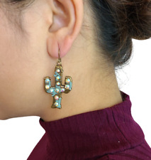 Cactus Design Earrings Set Brass Plated Western Fashion Jewelry
