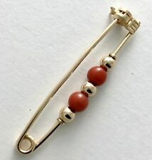 Rare Elegant Timeless 18 kt Yellow Gold Coral Pin, Brooch!