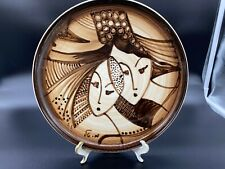 Hand painted Lapid Israel Art Pottery Plate Signed by Artist  - 9 1/2