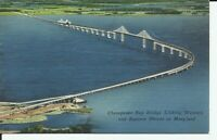 Chesapeake Bay Bridge Aerial View Linen Postcard