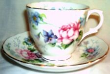 Staffordshire Roses and Lavender China Cup and Saucer