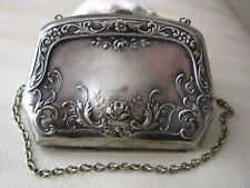 Antique Victorian Art Nouveau Floral Nickel Silver Card Case Purse ANNA RECTOR