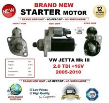 FOR VW JETTA Mk III 2.0 TDi +16V 2005-2010 NEW STARTER MOTOR 10-Teeth OE QUALITY