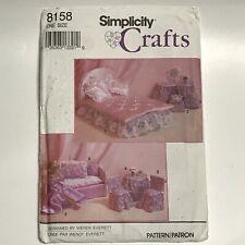 Simplicity Crafts Pattern 8158 Fashion Barbie Doll Bedroom Furniture Dress NEW