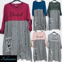 Womens Ladies Cotton Tunic Kaftan Dress Summer Loose Plus Size Beach Baggy Boho