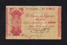 F.C. 5 PESETAS BANCO DE BILBAO 1936 , B/C .