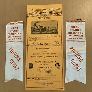 1939 CELEBRATION TICKET & PIN PIONEER GUEST CIVIC CENTER TERMINAL RAILROAD LINE