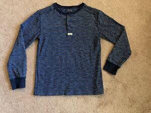 Polo Ralph Lauren Boys Blue Striped Long Sleeve Henley Top Shirt Size M (10-12)